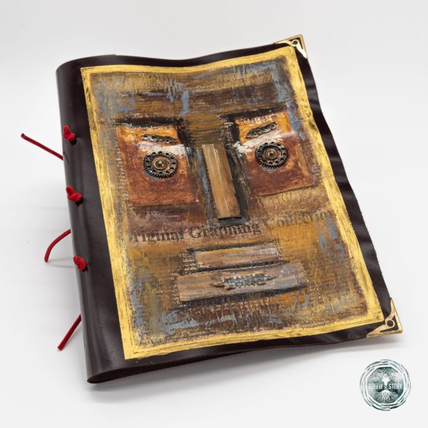 Agenda Breely Story din piele naturala cu aplicatii. Moai. Handmade