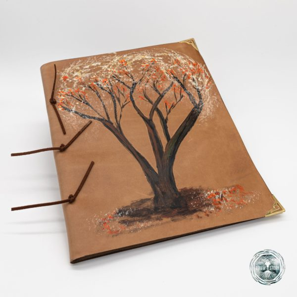 Agendă Breely Story lucrată manual din piele naturala, Copac. Handmade