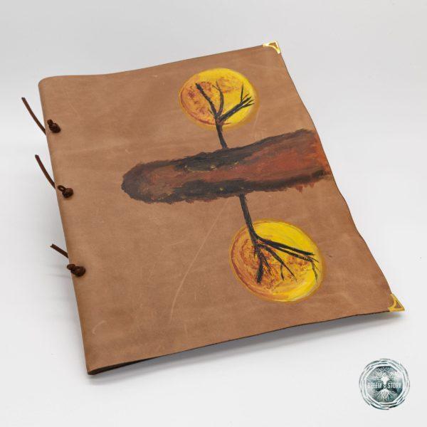 Agendă lucrată manual din piele naturala, Oglindire. Handmade