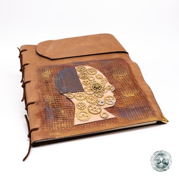 Agnedă din piele lucrată manual cu aplicații, Steampunk. Handmade