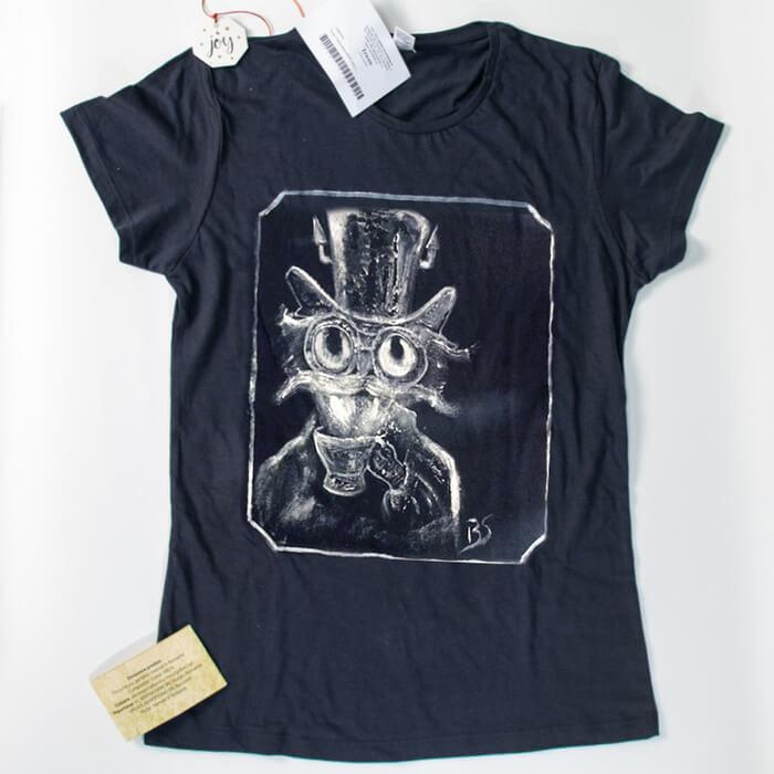 Tricou bumbac Breely Story Steamcat pictat manual negru handmade